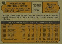 1972 Topps Baseball Nolan Ryan back