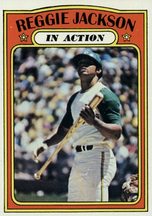 1972 Topps Baseball Reggie Jackson In Action