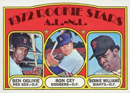 1972 Topps Baseball Ron Cey Bernie Williams RC
