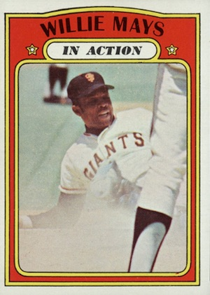 1972 Topps Baseball Willie Mays In Action