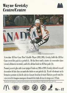 1991-92 Upper Deck McDonald's Base Wayne Gretzky Backb