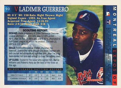 1995 Bowman Vladimir Guerrero RC Reverse