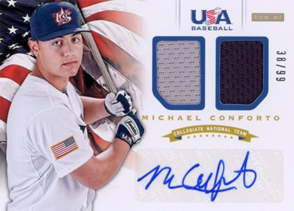 2012 Panini USA Baseball Dual Jersey Autograph Michael Conforto