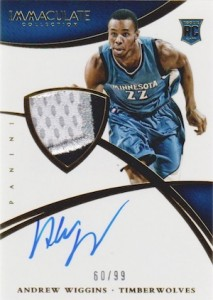 2014-15 Panini Immaculate Collection Andrew Wiggins RC #101 Autographed Jersey