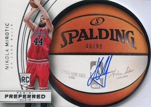 2014-15 Panini Preferred Nikola Mirotic RC Roundball Die-Cut Autograph