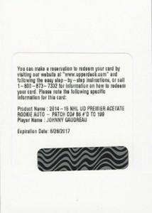 2014-15 Upper Deck Premier Acetate Autograph Patch Rookie Gallery 24