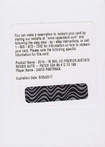 2014-15 Upper Deck Premier Acetate Autograph Patch Rookie Gallery 5