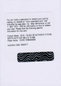 2014-15 SP Authentic Hockey Future Watch Autographs Gallery, Guide 42