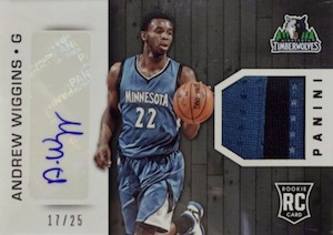 2015 Panini Finals Private Signings Andrew Wiggins Rookie Signatures Materials