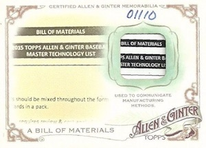 2015 Topps Allen & Ginter Baseball Bill of Materials Relic