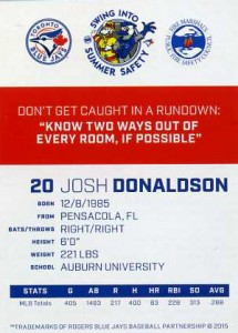 2015 Toronto Blue Jays Fire Safety Josh Donaldson-Back