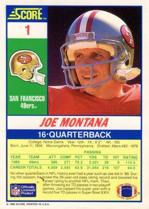 1990 Score Football Cards 2