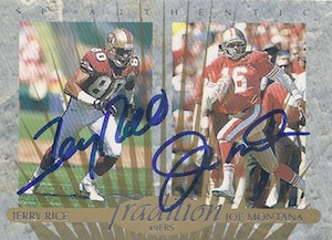 1997 SP Authentic Football Tradition Dual Autographs Rice Montana