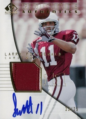 2004 SP Authentic Football Rookie Authentics Autograph Patch Gold RC Larry Fitzgerald