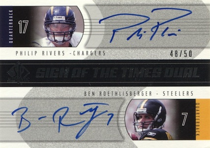 2004 SP Authentic Football Sign of the Times Dual Roethlisberger Rivers