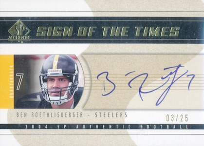 2004 SP Authentic Football Sign of the Times Gold Roethlisberger