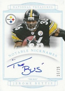 2014 National Treasures Notable Nicknames Autograph Jerome Bettis