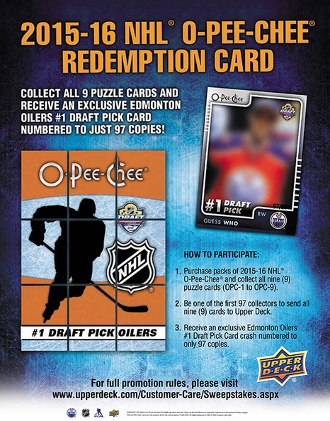 2015-16 O-Pee-Chee Hockey Connor McDavid Redemption Card Offer 1