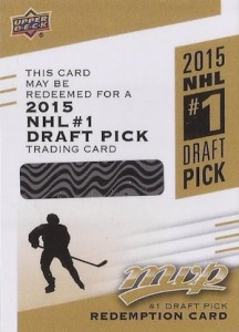 2015-16 Upper Deck MVP DP-1 #1 Draft Pick Redemption Card Connor McDavid
