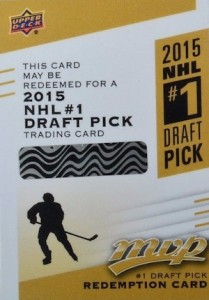 2015-16 Upper Deck MVP Hockey 1 Draft Pick Redemption