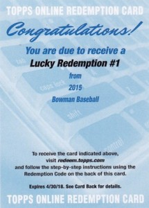 2015 Bowman Baseball Lucky Autograph Redemption Revealed 1