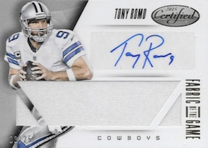 2015 Panini Certified Football Fabric of the Game Signatures Romo