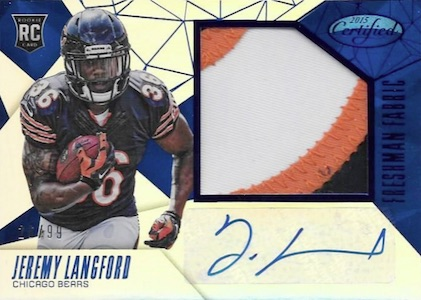 2015 Panini Certified Football Freshman Fabrics Blue Mirror Langford