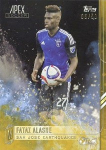 2015 Topps MLS Apex Base SP Alashe Gold Parallel