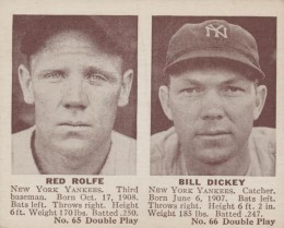 1941 Double Play Red Roulfe, Bill Dickey #65-#66