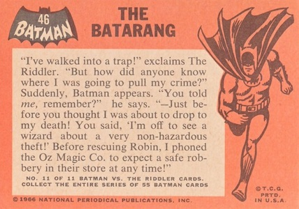 Holy Vintage Collecting, Batman! It's the Top 1966 Batman Cards 1