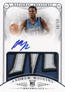 2014-15 Panini National Treasures Andrew Wiggins RC #101 Autographed Jersey