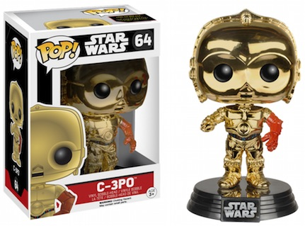 2015 Funko Pop Star Wars The Force Awakens Vinyl Figures Exclusive Metallic C3PO