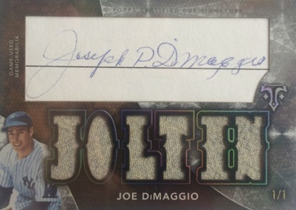 2015 Topps Triple Threads Baseball Cut Above Autographed relic Dimaggio