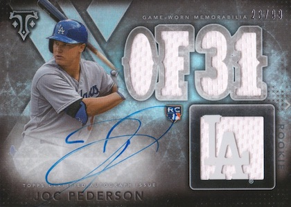 2015 Topps Triple Threads Rookie & Future Phenoms Joc Pederson RC #136 Autographed Relic