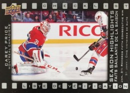 2015 Upper Deck Tim Hortons Collector's Series Hockey Season Highlights Checklist
