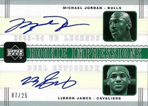 003-04 Upper Deck Legends Rookie Impressions Dual Autographs LeBron James Michael Jordan