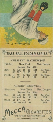 1911 T201 Mecca Double Folders Baseball Christy Mathewson Al Bridwell back