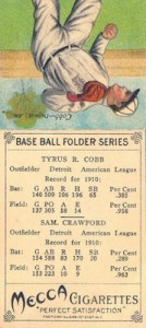 1911 T201 Mecca Double Folders Baseball Sam Crawford Ty Cobb back