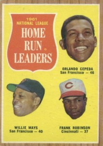 1962 Topps National League Home Run Leaders Cepeda, Mays, Robinson
