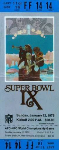 1975 Super Bowl IX Ticket