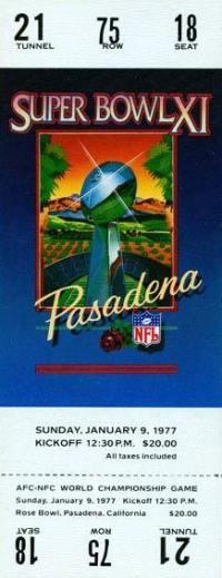 1977 Super Bowl XI Ticket