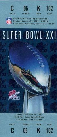 1987 Super Bowl XXI Ticket