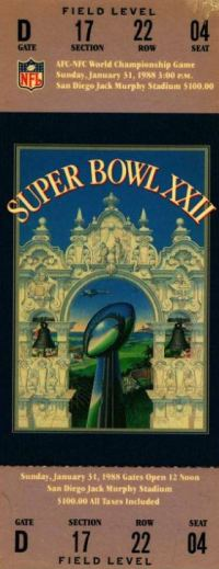 1988 Super Bowl XXII Ticket