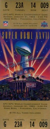 1993 Super Bowl XXVII Ticket