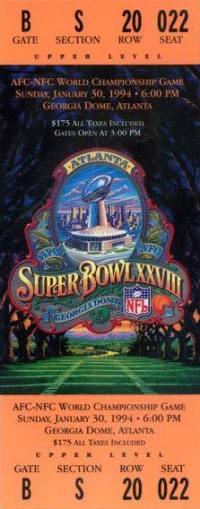1994 Super Bowl XXVIII Ticket