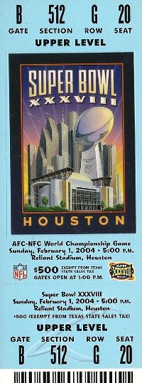 2004 Super Bowl XXXVIII Ticket