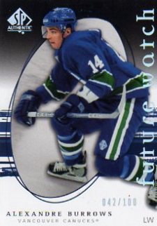 2005-06 SP Authentic Limited Alexandre Burrows Rookie Card (/100)