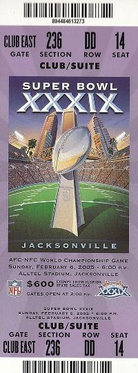 2005 Super Bowl XXXIX Ticket