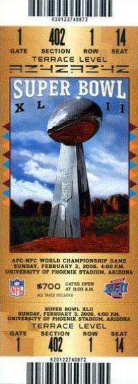 2008 Super Bowl XLII Ticket