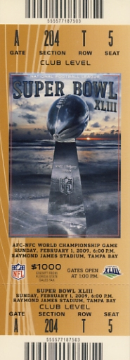 2009 Super Bowl XLIII Ticket